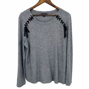 I.N.C Grey Black Lace Up Detail Sweater X-Large